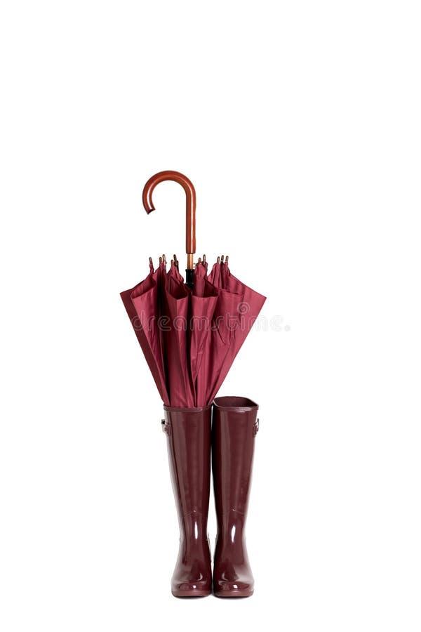 Les bottes en caoutchouc et le parapluie collent le vin de Marsala de couleur sur le backgr d'isolement photo libre de droits