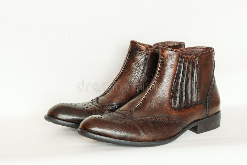 Les bottes en cuir des hommes photo libre de droits