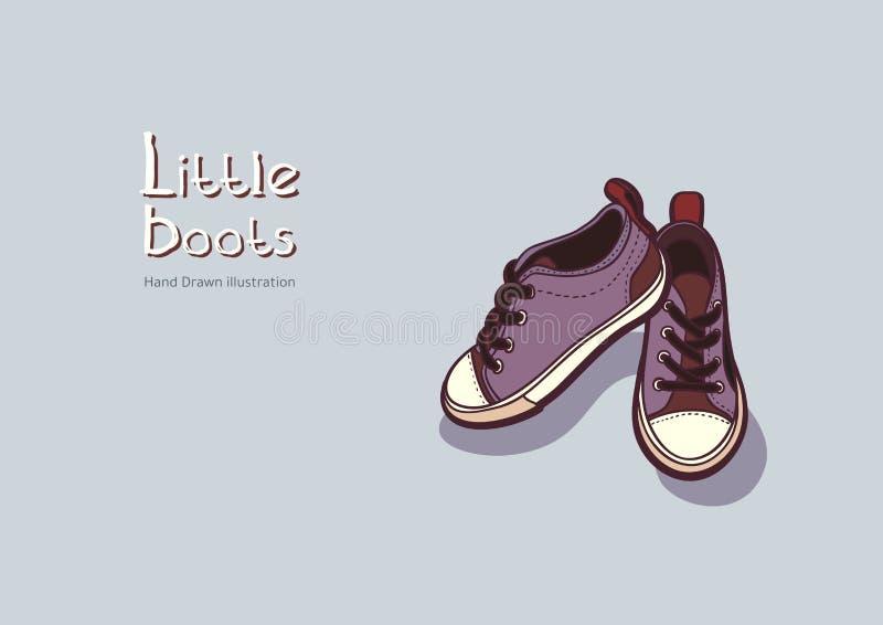 Les bottes pourpres d'enfants dirigent le graphique tiré par la main pour le logo, affiche, carte postale, livret de mode, insect illustration de vecteur