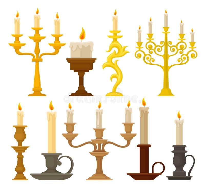 Les bougies dans les chandeliers réglés, les bougeoirs de cru et les candelabrums dirigent l'illustration sur un fond blanc illustration de vecteur