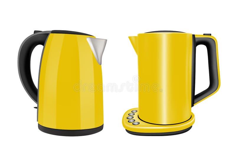 Les bouilloires ?lectriques ont plac? de deux appareils pour l'usage ? la maison dans la cuisine illustration stock