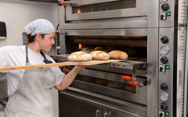 Les boulangers faisant les miches de pain faites main dans une boulangerie de famille formant la pâte dans le tradional forme à S photos libres de droits