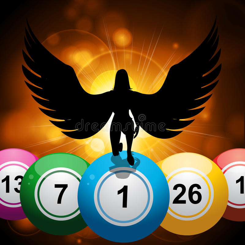 Les boules de bingo-test et l'ange chanceux sur l'étoile ont éclaté le fond d'or illustration de vecteur