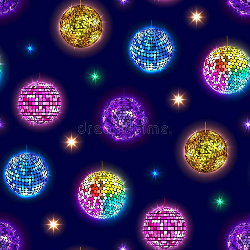 Les boules de miroir de disco font la fête le fond sans couture de modèle de vecteur illustration stock