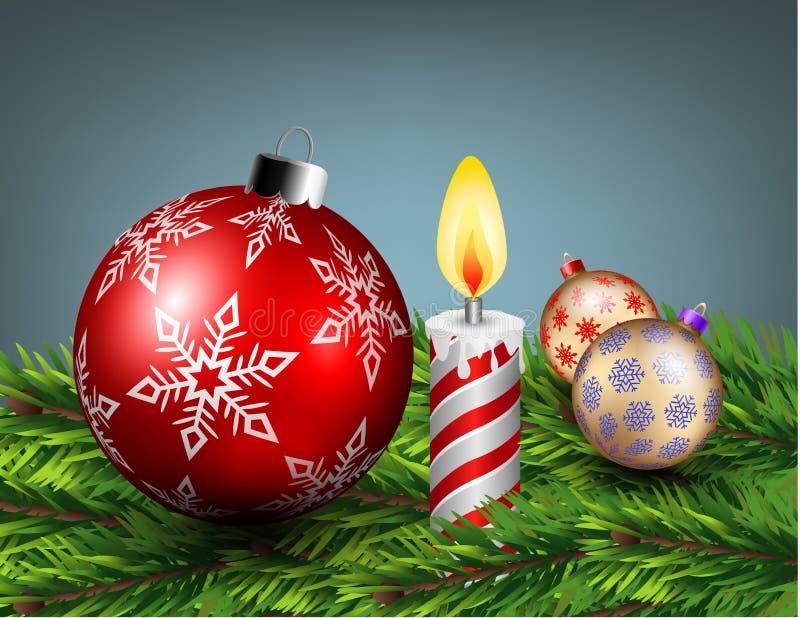 Les boules de Noël et la lumière de bougie sur une pile de pin part illustration de vecteur