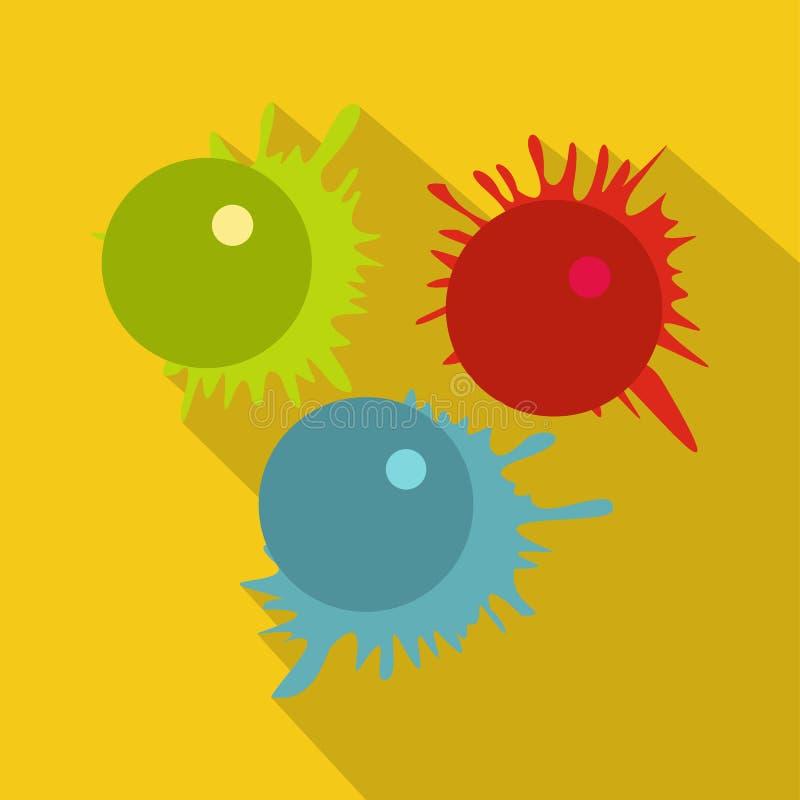 Les boules de Paintball avec éclabousse l'icône illustration de vecteur