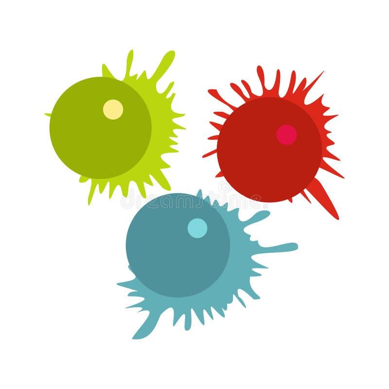 Les boules de Paintball avec éclabousse l'icône illustration libre de droits