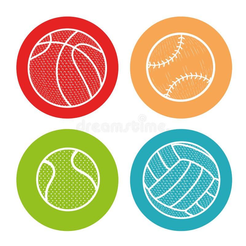 Les boules de sport ont isolé l'icône illustration stock