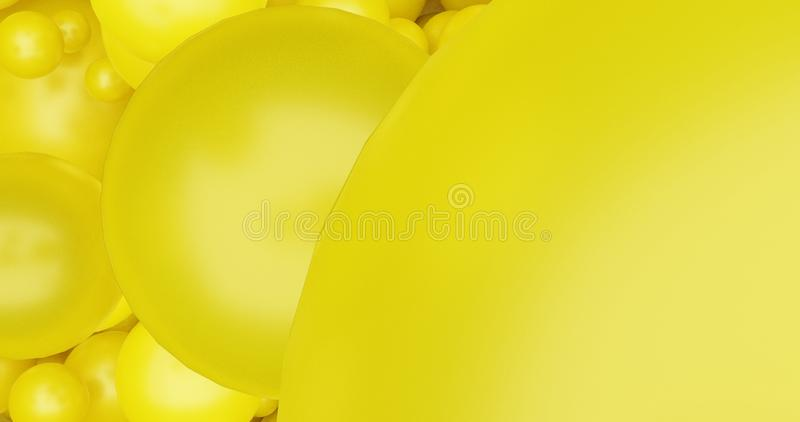 Les boules jaunes bouillonnent 3d rendre le fond pour le fond d'insecte d'affiche, calibre satisfait de médias sociaux illustration de vecteur