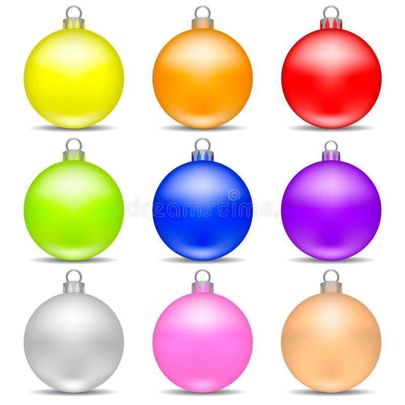 Les boules réalistes colorées de Noël ont placé d'isolement sur le fond blanc Jouet de Noël de vacances pour l'arbre de sapin Ill illustration de vecteur