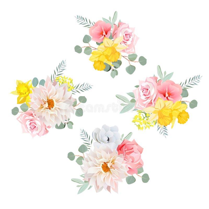 Les bouquets du dahlia, se sont levés, narcisse, anémone, fleurs roses et feuilles d'eucalyptus illustration libre de droits