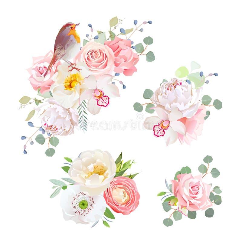 Les bouquets sensibles de ressort et le vecteur mignon d'oiseau de merle conçoivent des objets illustration stock