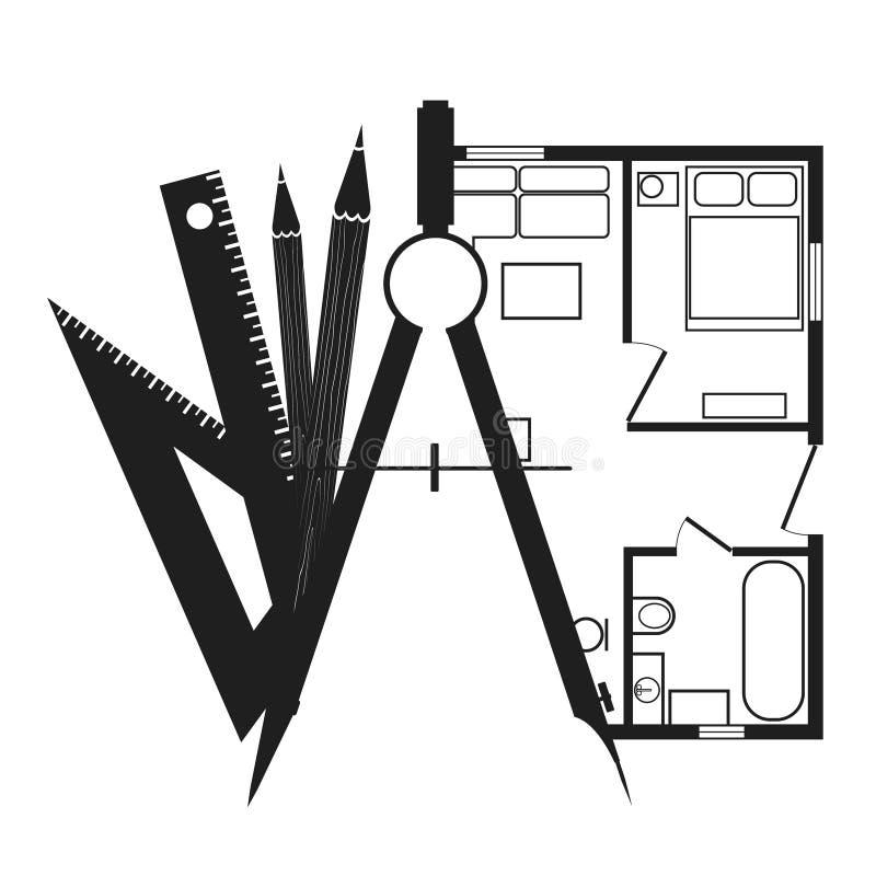 Les boussoles de dessin avec des crayons et une maison prévoient illustration de vecteur