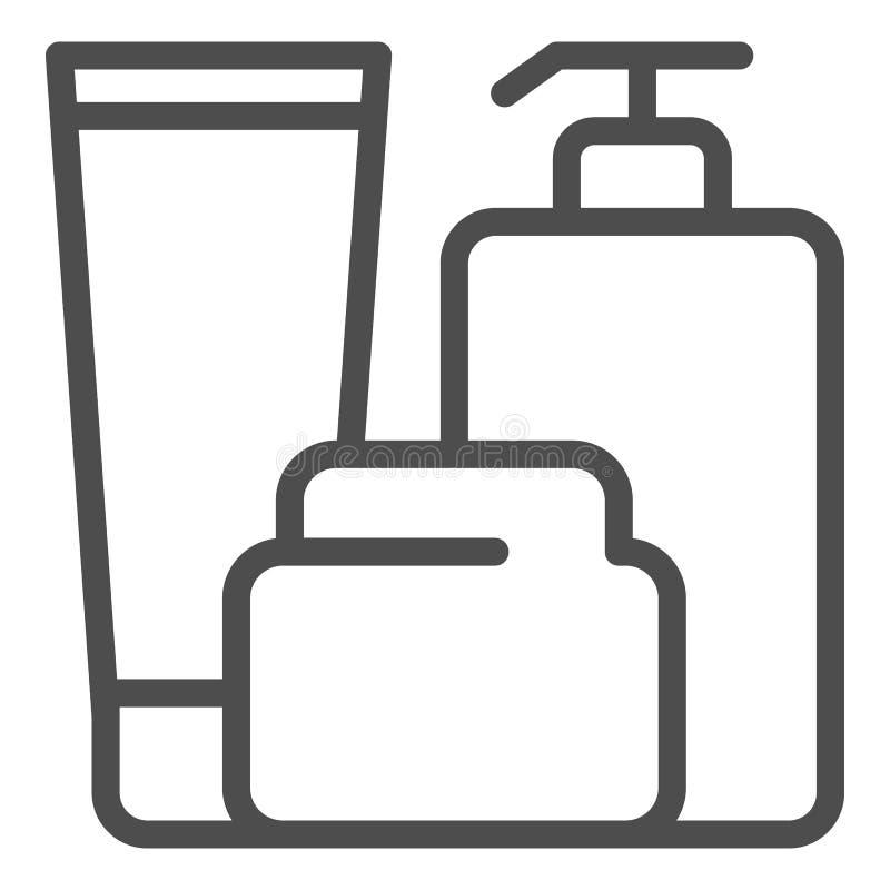 Les bouteilles de Bath rayent l'icône Illustration de vecteur de lotion, de crème et de gel d'isolement sur le blanc Après style  illustration de vecteur