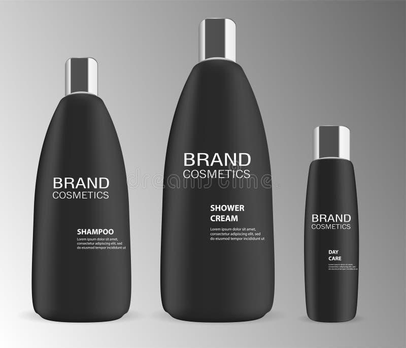 Les bouteilles de Black Cosmetic sont montées beauté luxueuse illustration libre de droits