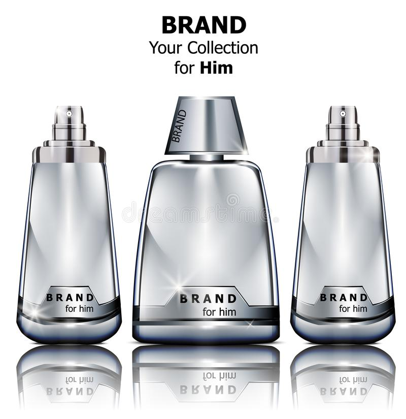Les bouteilles de parfum argentées réalistes de vecteur raillent  Cosmétiques détaillés de empaquetage de produit illustration libre de droits