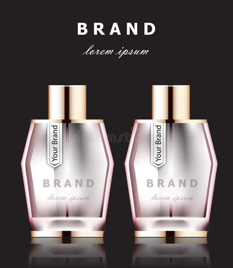 Les bouteilles de parfum roses réalistes de vecteur raillent  Cosmétique détaillé de empaquetage de produit illustration de vecteur