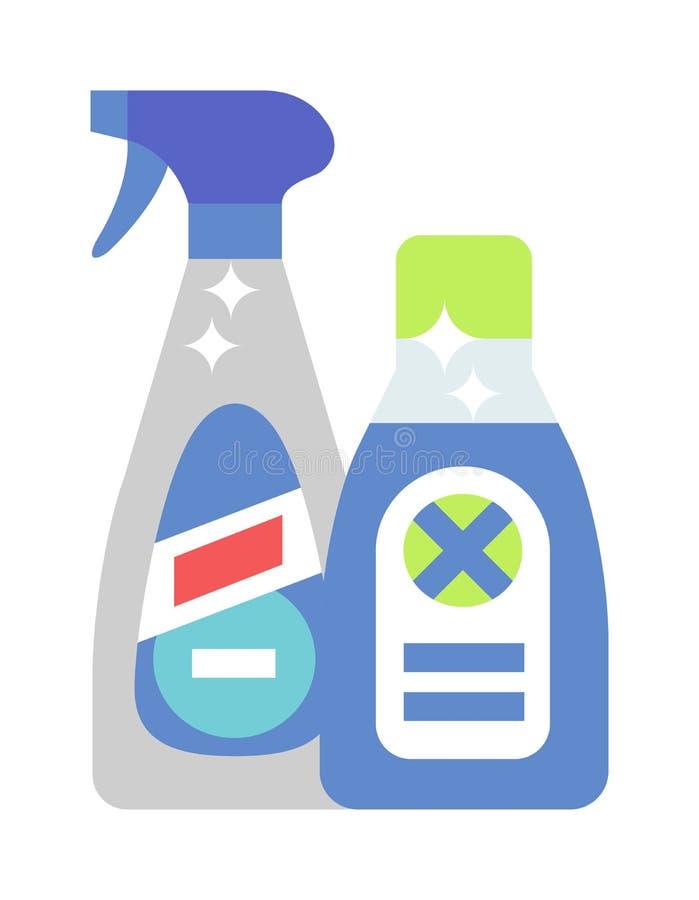 Les bouteilles de produit d'entretien et la bouteille en plastique détersives de jet ont isolé le vecteur plat de bande dessinée  illustration stock