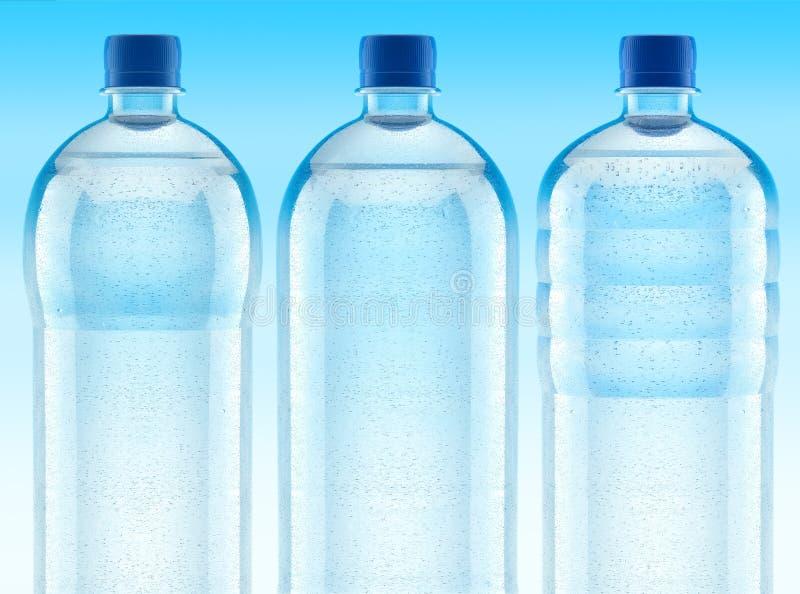 les bouteilles effacent l'eau en plastique misted fraîche illustration de vecteur