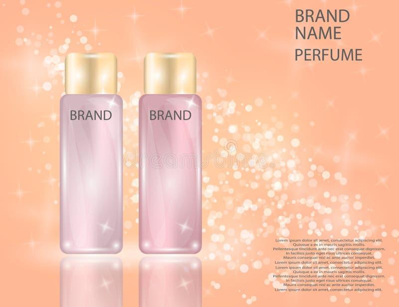 Les bouteilles en verre de parfum fascinant sur le scintillement effectue le fond illustration libre de droits