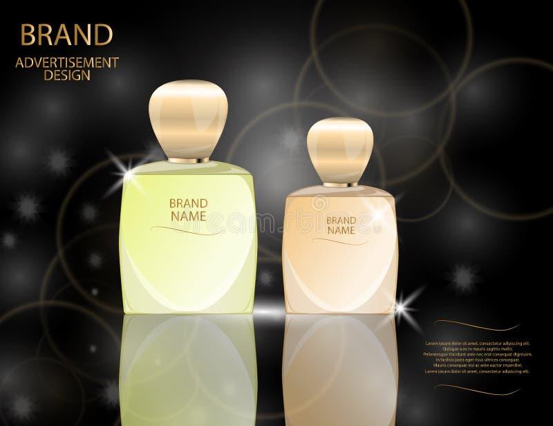Les bouteilles en verre de parfum fascinant sur le scintillement effectue le fond Illustration réaliste de vecteur de la maquette illustration de vecteur