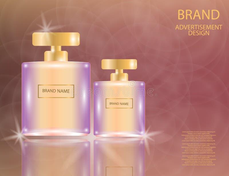 Les bouteilles en verre de place fascinante de parfum sur le scintillement effectue le fond illustration stock