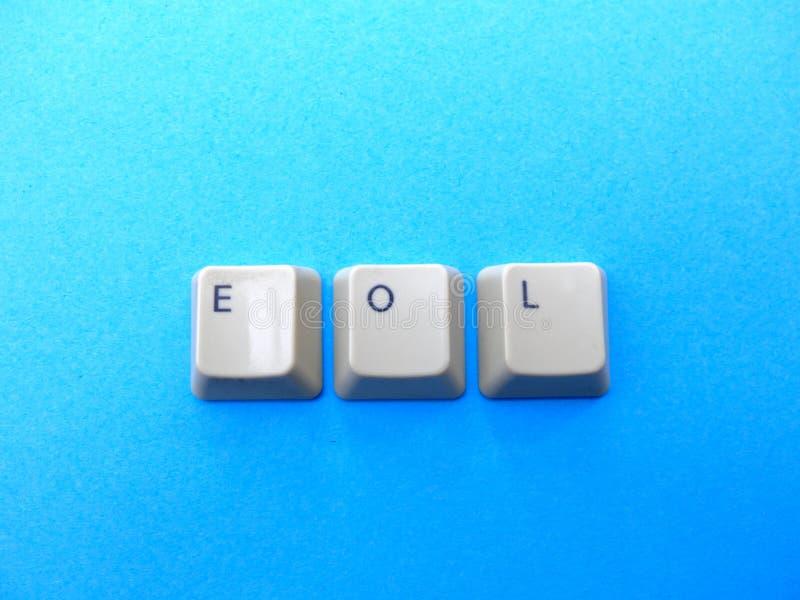 Les boutons d'ordinateur forment EOL End d'abréviation vivante Ordinateur et argot d'Internet image libre de droits