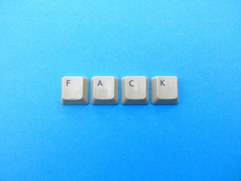Les boutons d'ordinateur forment une pleine abréviation de reconnaissance de FACK Ordinateur et argot d'Internet image stock