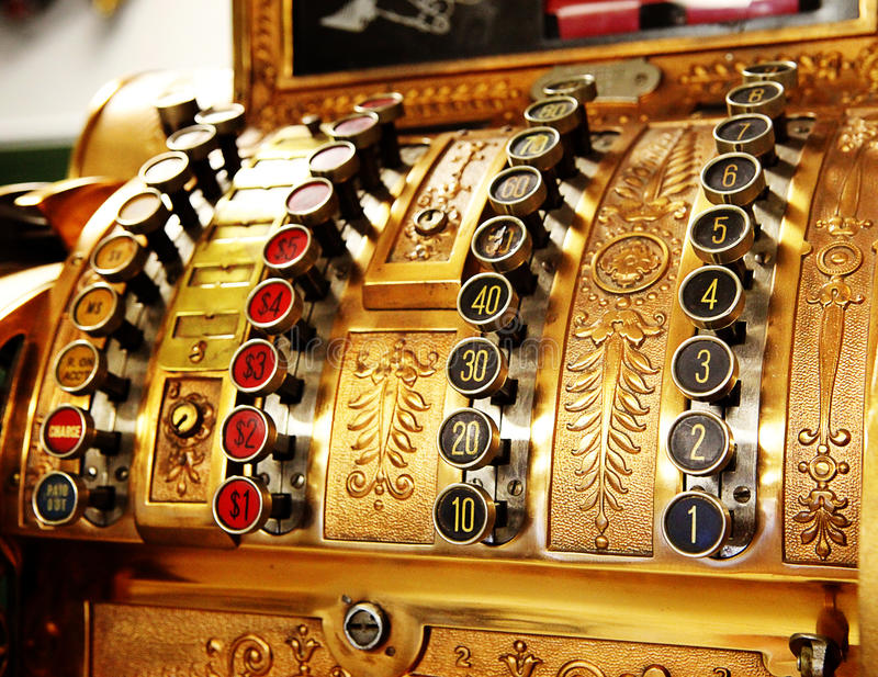Les boutons de caisse comptable de mémoire antique se ferment photos stock