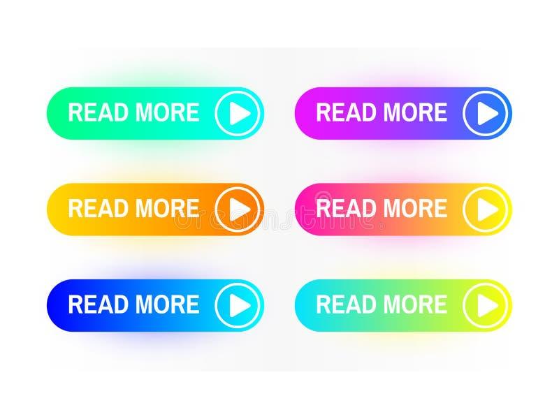 Les boutons de gradient ont placé d'isolement sur le fond blanc Lisez plus de concept de bouton Interface de site Web Bouton colo illustration de vecteur
