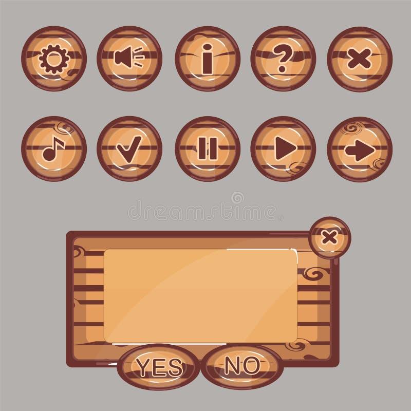 Les boutons en bois pour l'interface de jeu illustration de vecteur