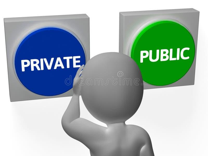 Les boutons publics privés montrent personnel ou l'intimité illustration stock