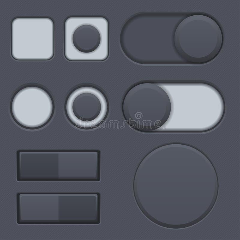 Les boutons radios noirs d'interface, basculent commuté Icônes emmêlées d'interface de Web illustration de vecteur