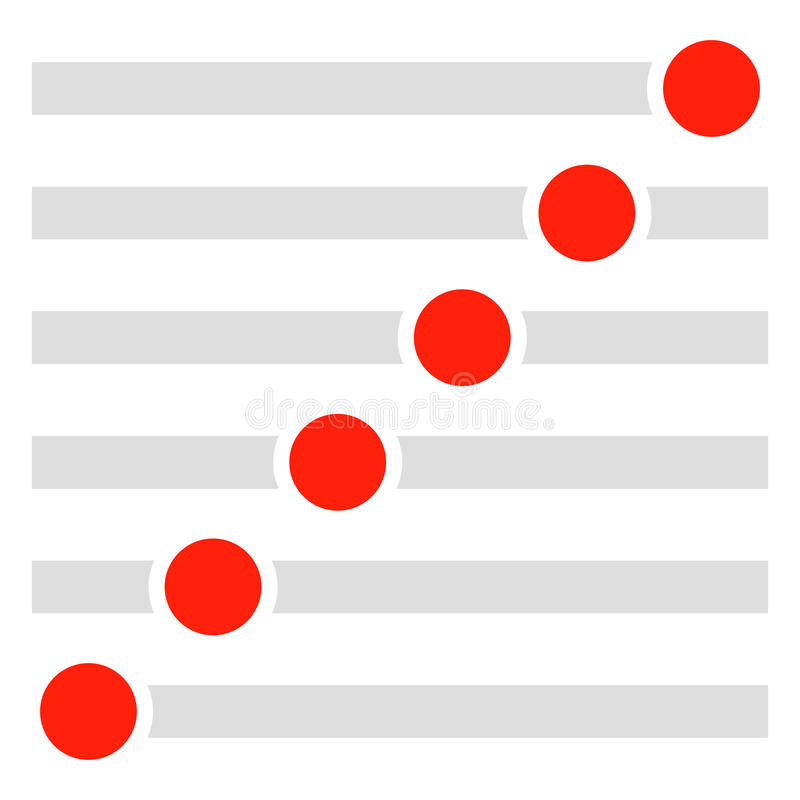 Les boutons rectangulaires, commutateurs ont placé à différents états Glisseur, a illustration stock