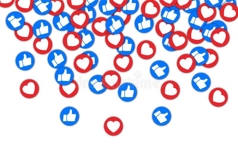 Les boutons sociaux manient maladroitement vers le haut du goût et du fond rouge de coeur Le milieu social aime le fond en baisse illustration stock