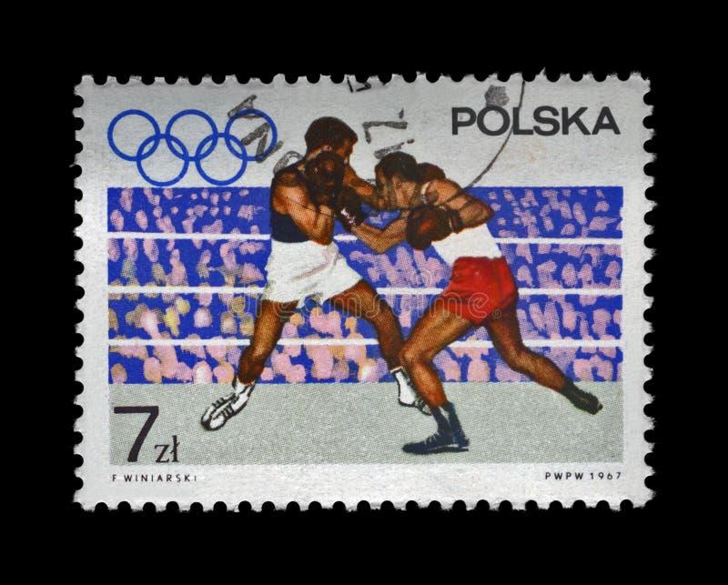 Les boxeurs sur l'anneau olympique ont consacré aux 19èmes Jeux Olympiques Mexico, 1968, vers 1967, photos libres de droits