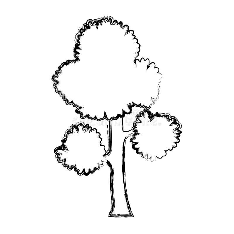 Les branches d'arbre exotiques grunges part de la tige illustration stock