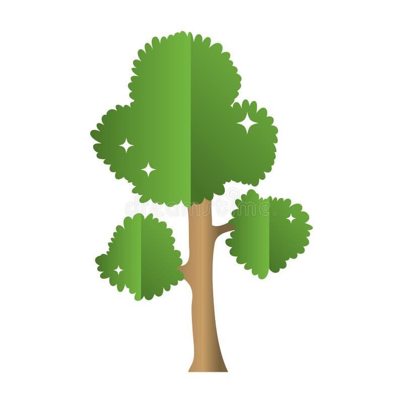 Les branches d'arbre exotiques part de la tige illustration stock