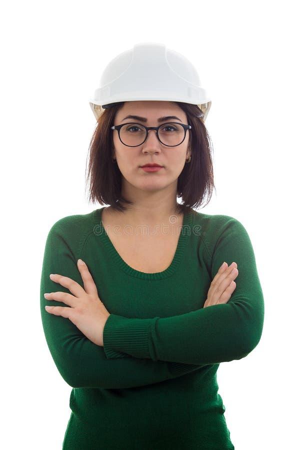 Les bras d'ingénieur de femme ont croisé photo stock