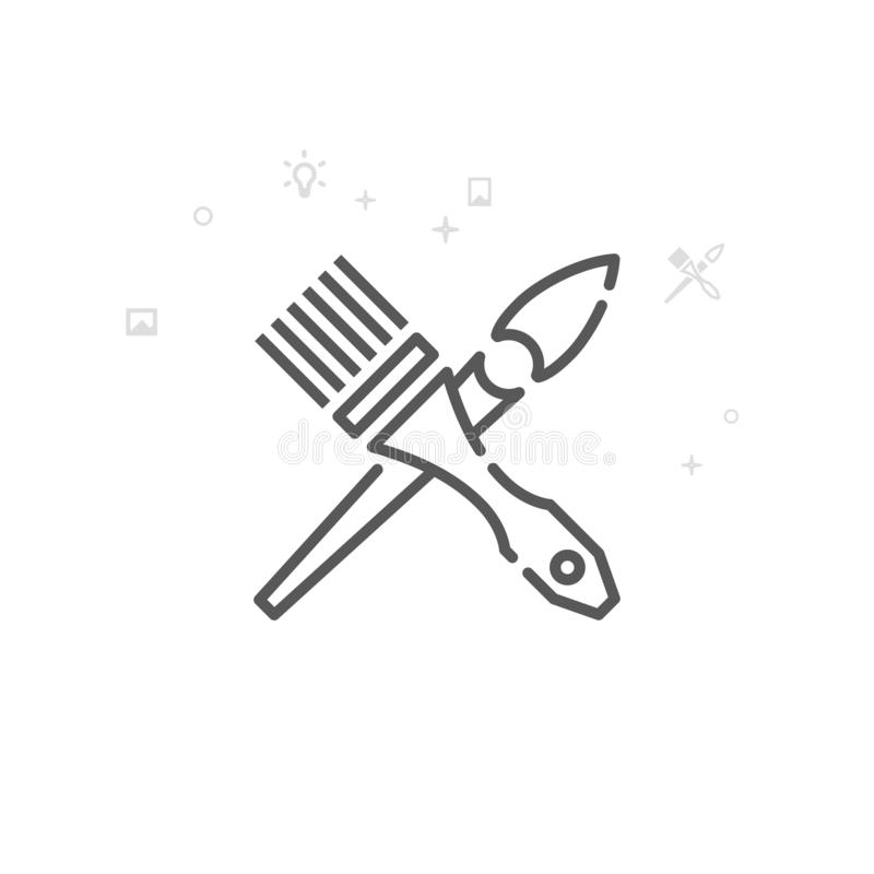 Les brosses croisées dirigent la ligne icône, symbole, pictogramme, signe Fond g?om?trique abstrait clair Course Editable illustration stock