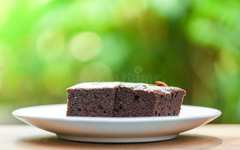 Les 'brownie' durcissent sur la tranche de g?teau de table/chocolat avec l'?crou sur le vert en bois et de nature photographie stock libre de droits