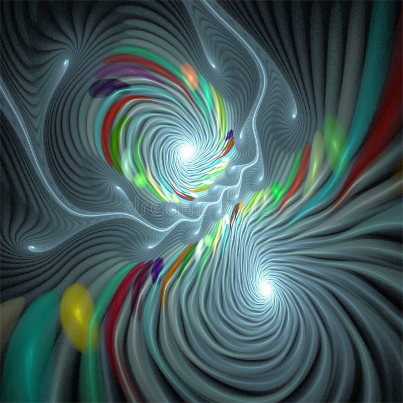 Les bulles abstraites de spirales d'art de fractale tourbillonnent dans des couleurs en pastel illustration libre de droits