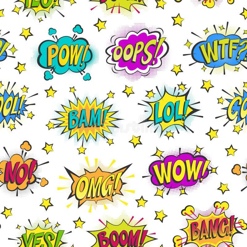 Les bulles comiques d'art de bruit dirigent des formes asrtistic de bouillonnement de bandes dessinées de nuage coloré de la paro illustration libre de droits