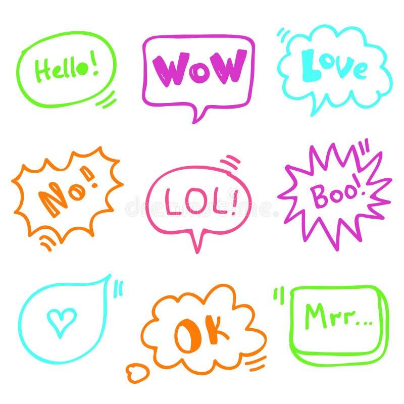 Les bulles de citation gribouillent la ligne vecteur mignon de marqueur réglé avec des mots illustration stock