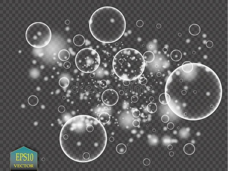 Les bulles de l'eau blanche avec la réflexion ont placé sur l'illustration transparente de vecteur de fond illustration libre de droits