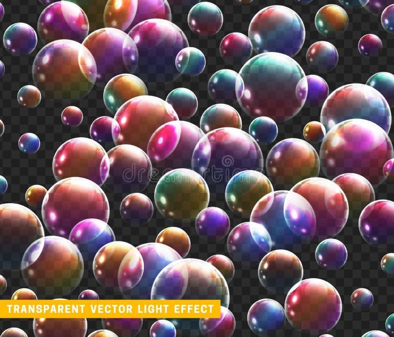 Les bulles savonnent l'ensemble réaliste avec l'illustration transparente de vecteur de fond illustration libre de droits