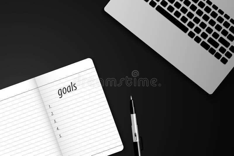 Les buts de vue supérieure énumèrent avec le carnet et les ordinateurs portables Illustration de vecteur illustration stock