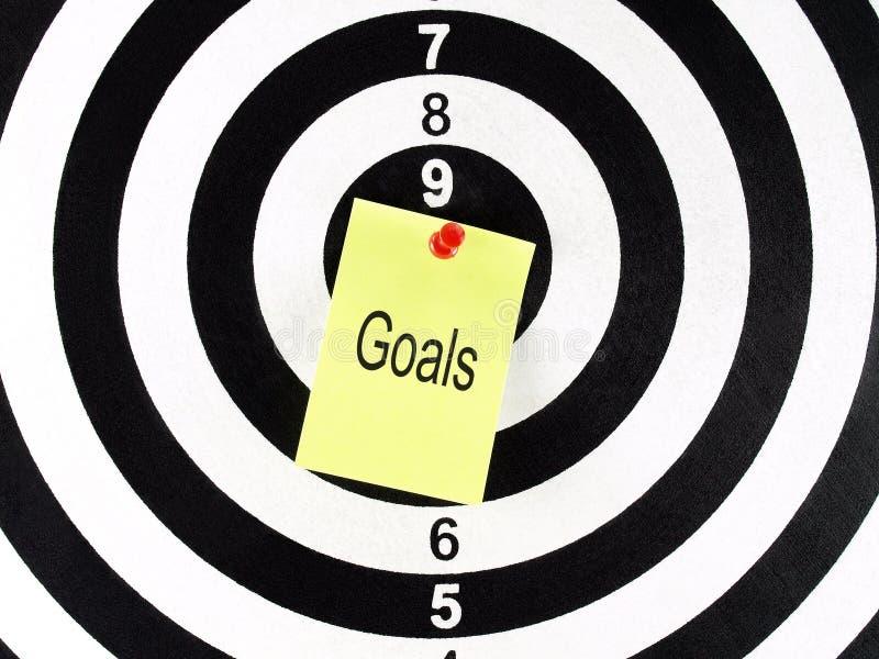 Les buts expriment au centre de la cible image libre de droits