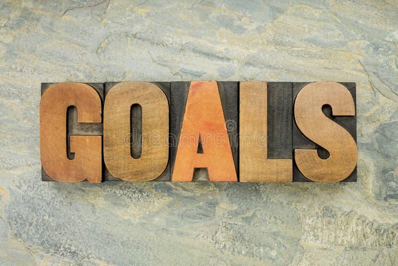 Les buts expriment dans le type en bois image stock