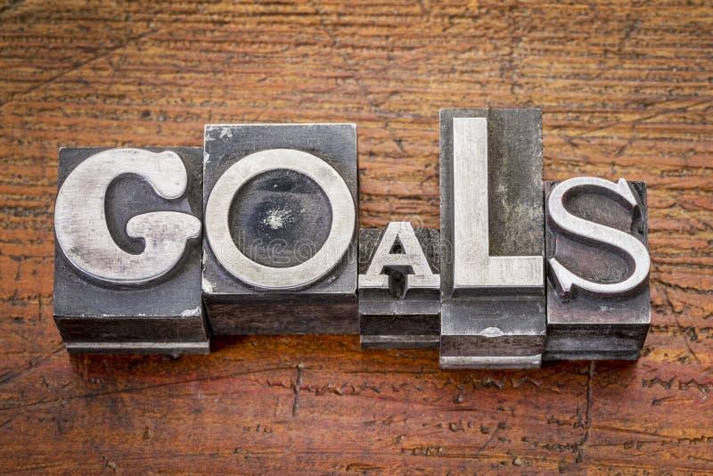 Les buts expriment dans le type en métal image stock
